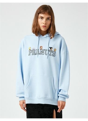 Koton Snoopy Lisansli Kapüsonlu Sweatshirt Mavi